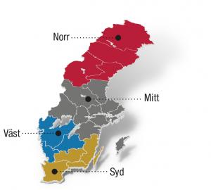 Karta - armering i Sverige