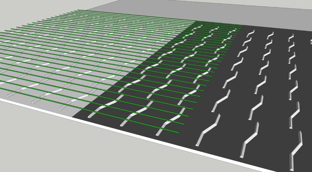 1. Första mattan rullas ut över lämplig distansering, tex Z-linjaler som i illustrationerna. Mattan skall överlappa gjutetapp 2 (mörkt underlag).