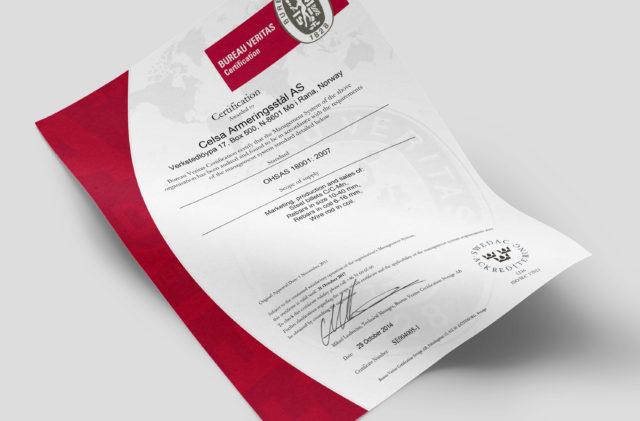OHAS 18001 - certifikat