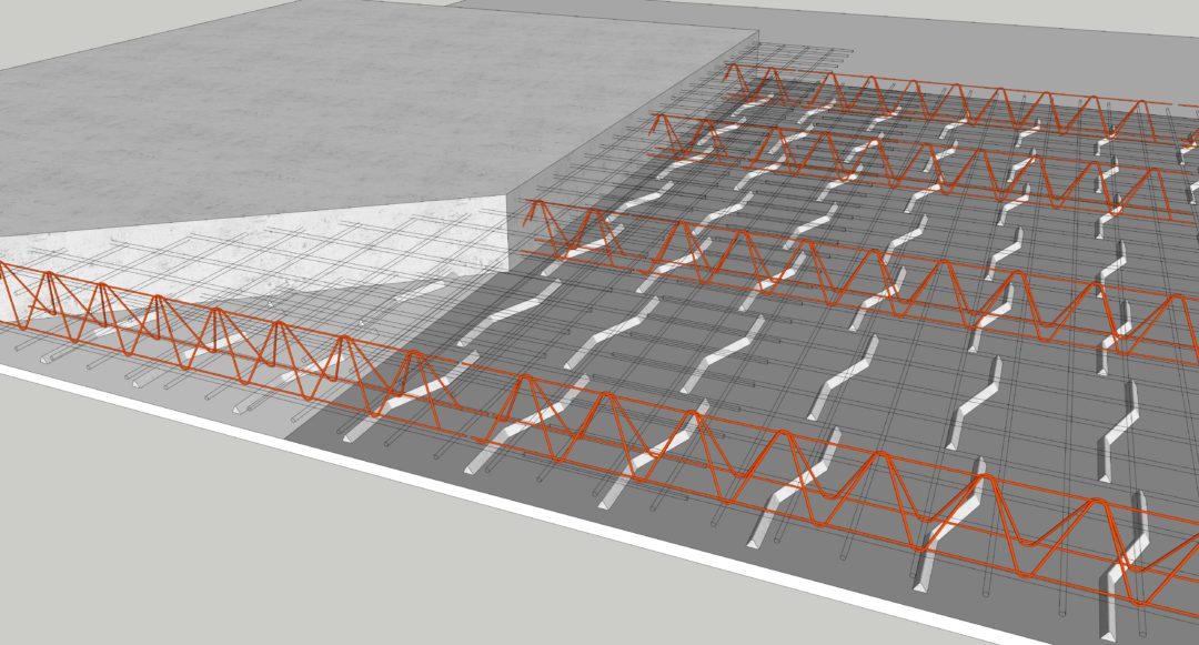 9. Nätstöd för överkantsarmeringen placeras ut.