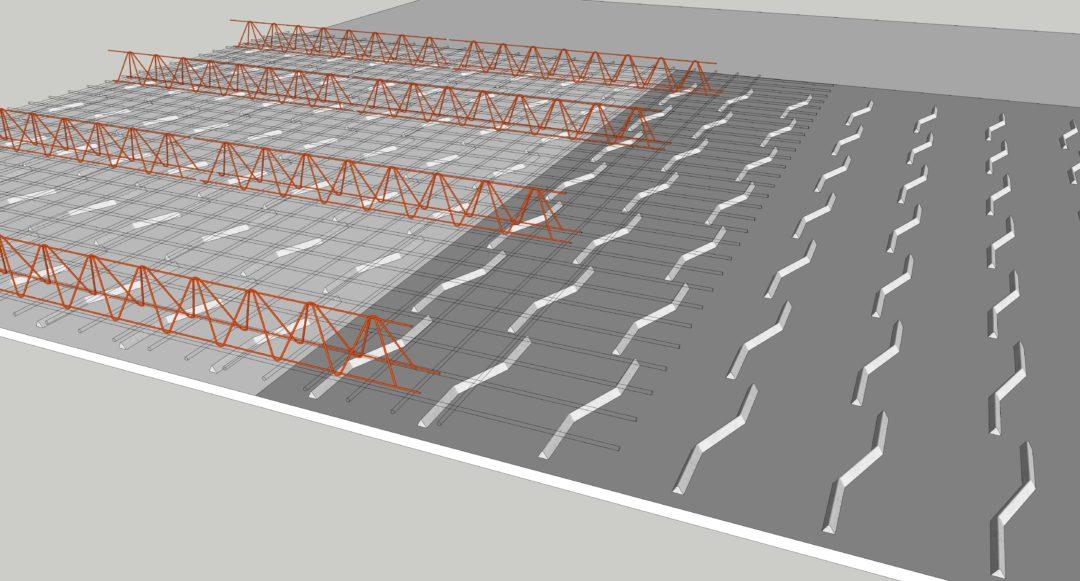 3. Nätstöd placeras ut som distansering för överkantsarmeringen.